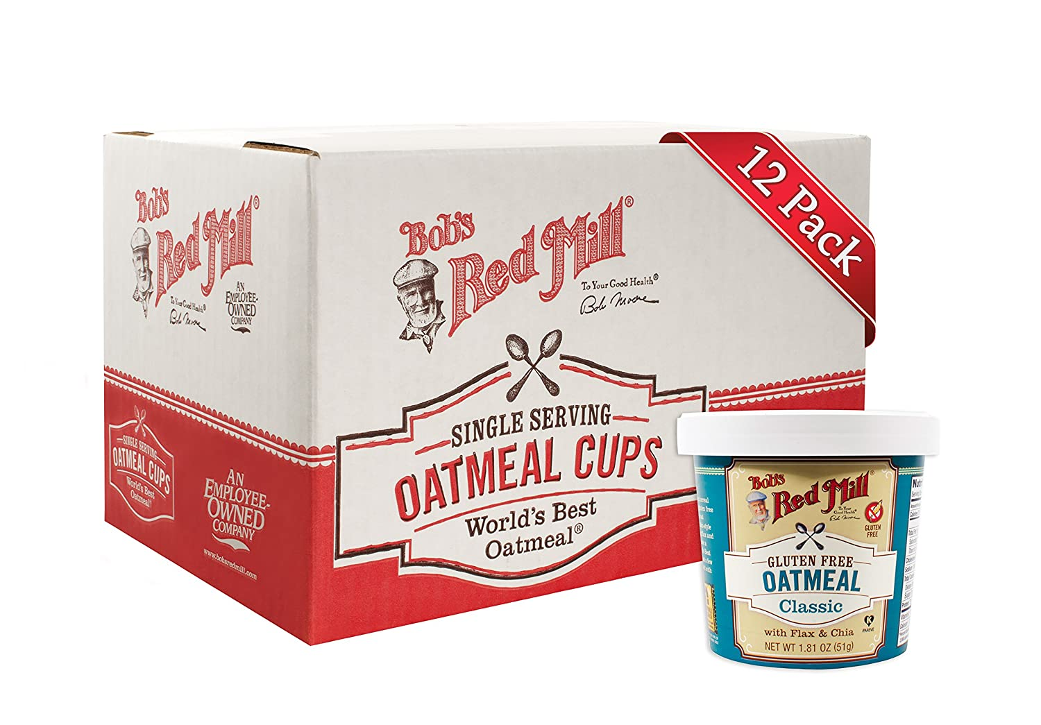 Bob's Red Mill Gluten Free Oatmeal Cup, Classic with Flax & Chia, 1.81-ounce (Pack of 12)