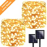 2-Pack Each 72ft 200LED Solar String Lights Outdoor, Super Bright Solar Lights Outdoor (Upgraded Oversize Lamp Beads), Waterproof Copper Wire 8 Modes Fairy Lights for Garden Patio Party (Warm White)