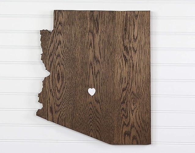 Amazoncom Arizona State Shape Wood Cutout Sign Wall Art In Oak 6