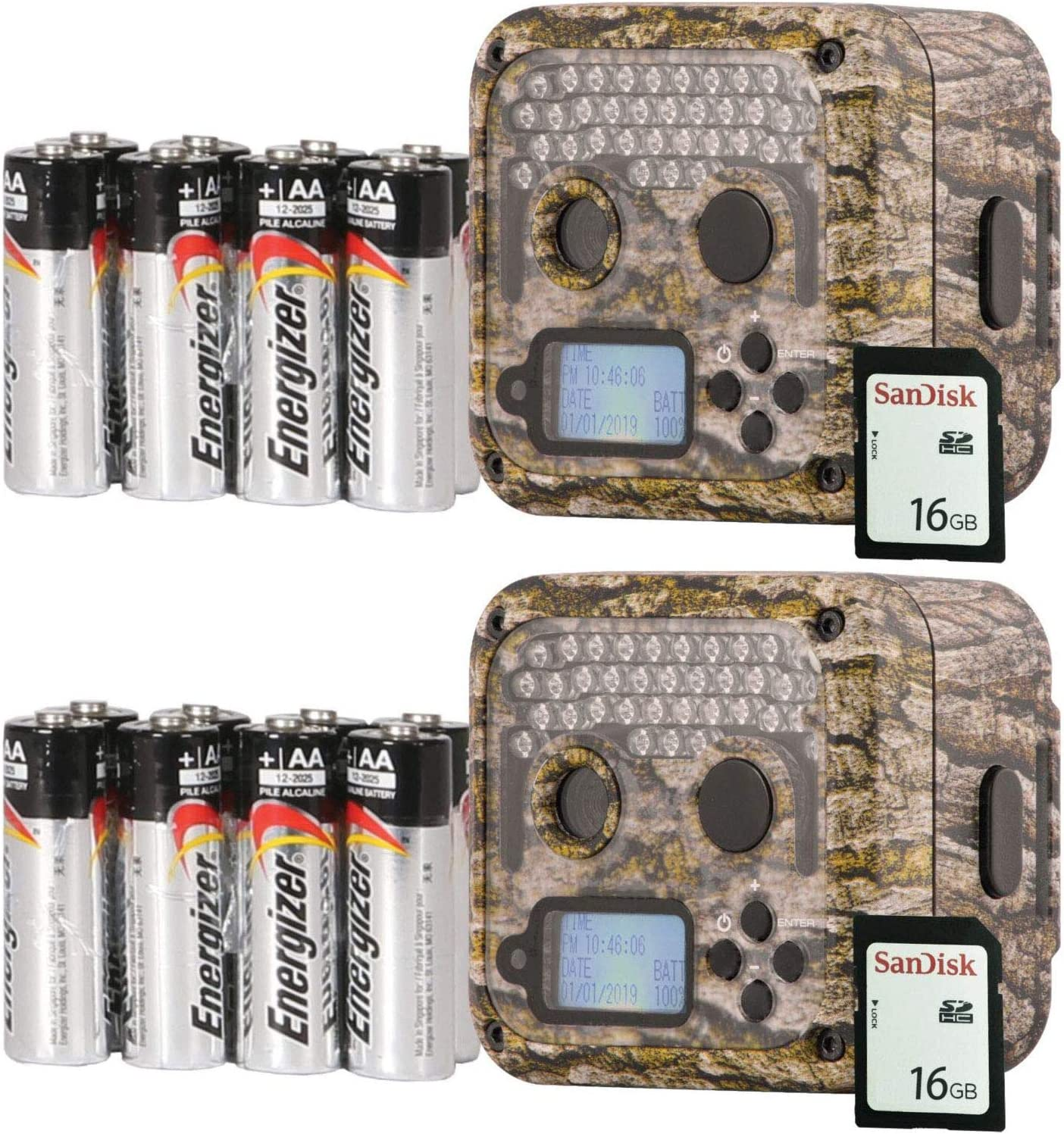 Wildgame Innovations Shadow Infrared Hunting Game Trail Camera (2 Pack) with SD Cards and Batteries