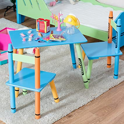 3 Piece Crayon Kids Table u0026 Chairs Set Wood Children Activity Playroom Furniture Colorful Kids Learning  sc 1 st  Amazon.com & Amazon.com: 3 Piece Crayon Kids Table u0026 Chairs Set Wood Children ...