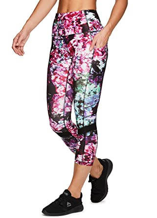 8f8b68d020ae RBX Active Women's Floral Print Yoga Running Capri Leggings with Pockets  Floral Dark XS
