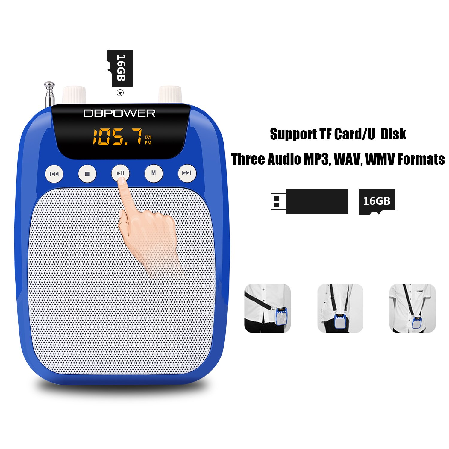 Dbpower 15 Watts Voice Amplifier And Fm Radio Mp3 With Mdisk Headset Super Boom J278 Comfortable Waist Neck Band Belt Clip For Teachers Tour Guides Coaches