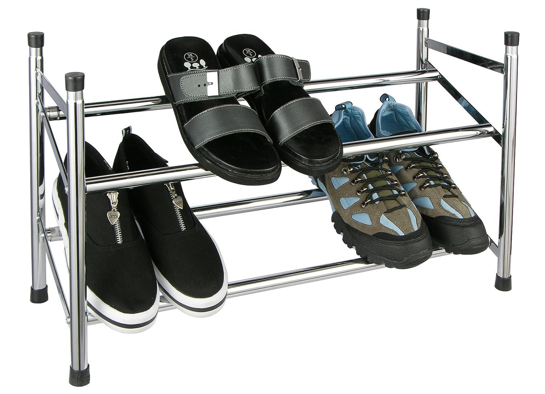 Design SCHUHREGAL mit 2 Etagen - Ausziehbar für bis zu 12 Paar Schuhe - Stapelbar und Robust Relaxdays Relaxdays 969529