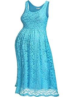 HOTOUCH Damen Umstandskleid Maternity Kleid Jerseykleid Schwangerschafts  Kleid Spitzenkleid Tank Kleid Empire Kleid Spitzen Ärmellose Rundhals 9914d5ccb2