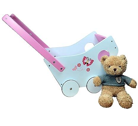 Muñeca carro incl. Peluche Teddy Bar de madera con goma, color rosa y blanco
