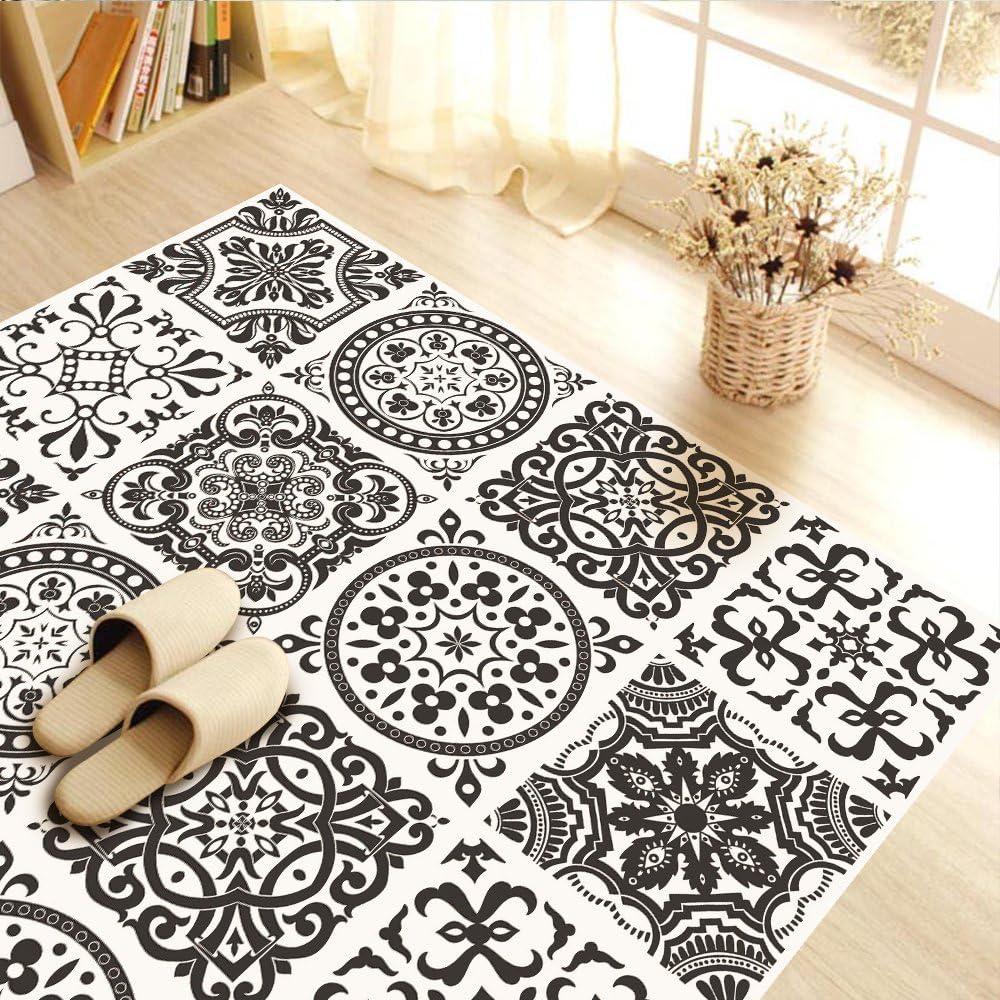 Vinyl Floor Wall Tiles Floor Stickers Waterproof Non Slip Kitchen Bathroom  Self Adhesive PVC Wall Stickers Home Decor White and Black, 9 x 9 cm x  ...
