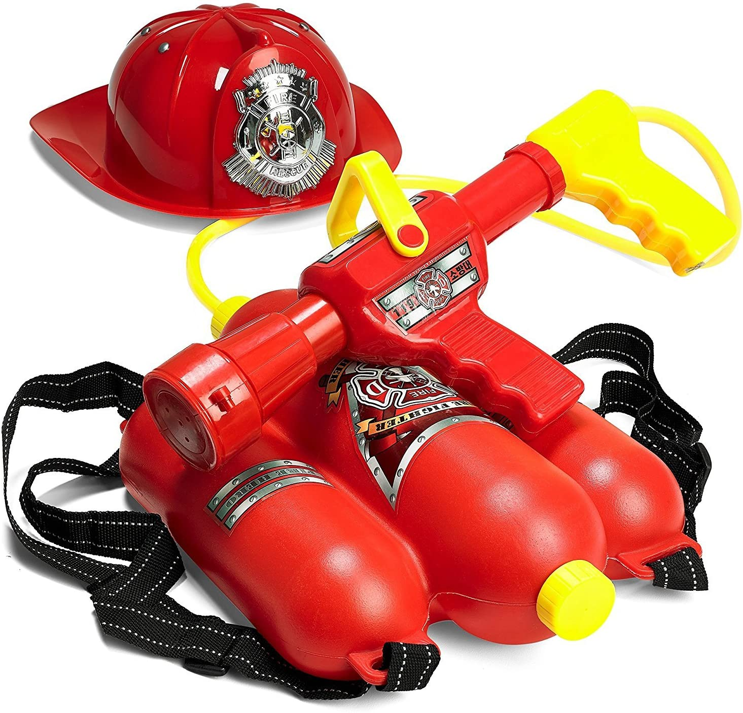 Prextex Fireman Backpack Water Shooter and Blaster with Fire Hat- Water Gun Beach Toy and Outdoor Sports Toy: Toys & Games