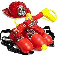 Prextex Fireman Backpack Water Shooter & Blaster with Fire Hat- Water Gun Beach Toy & Outdoor Sports Toy, PR-FFWC667