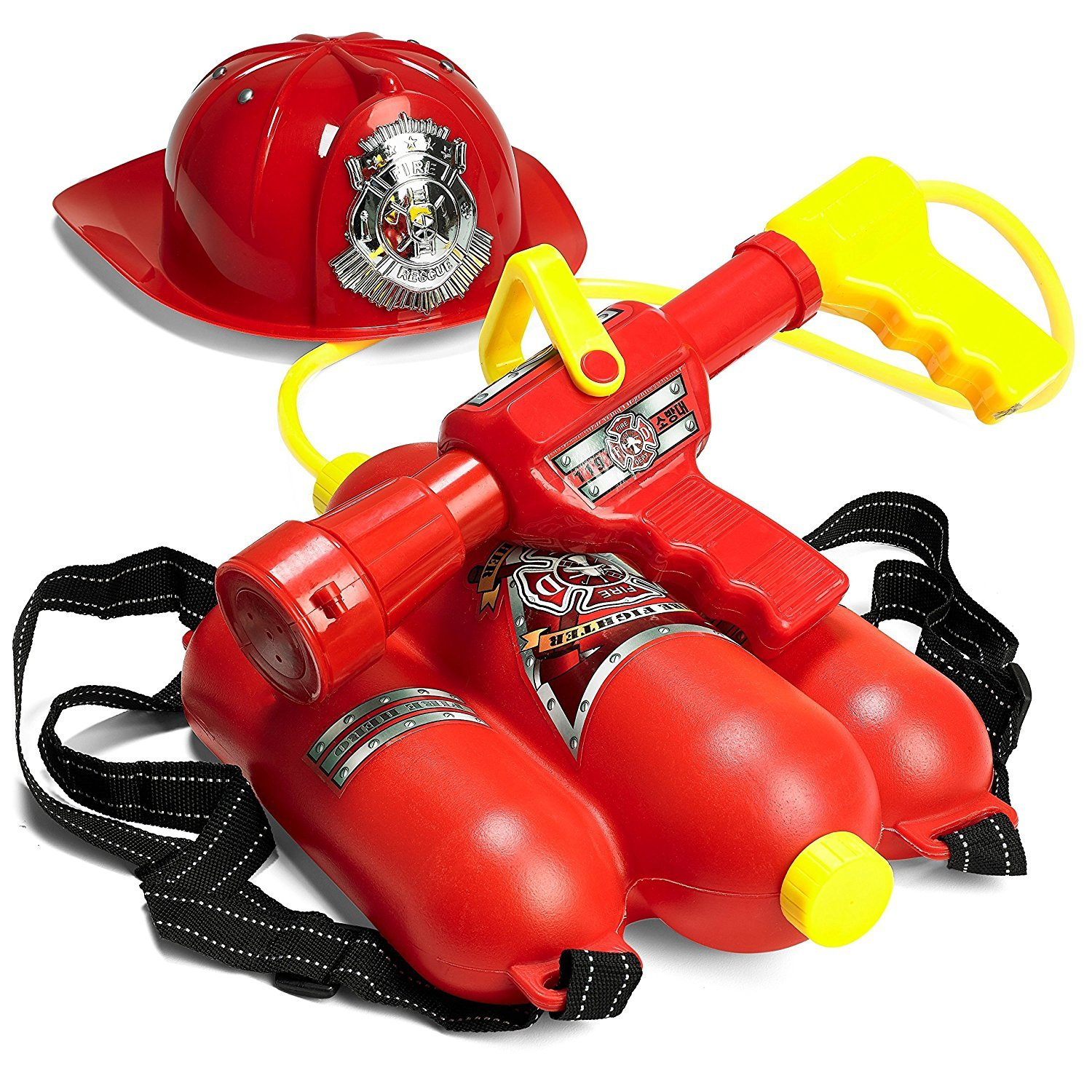 Prextex Fireman Backpack Water Shooter & Blaster with Fire Hat- Water Gun Beach Toy & Outdoor Sports Toy by Prextex