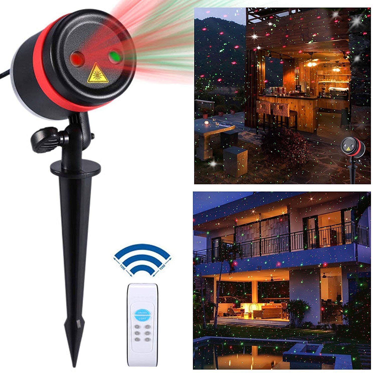 Lightess Christmas Laser Lights Projector Star Xmas Decorations Outdoor Indoor Holiday Landscape Lighting Red and Green Laser Light for Garden Party House Decor