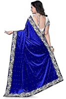 Nena Fashion Women's Velvet Saree (Nf-28,Blue,Free Size)