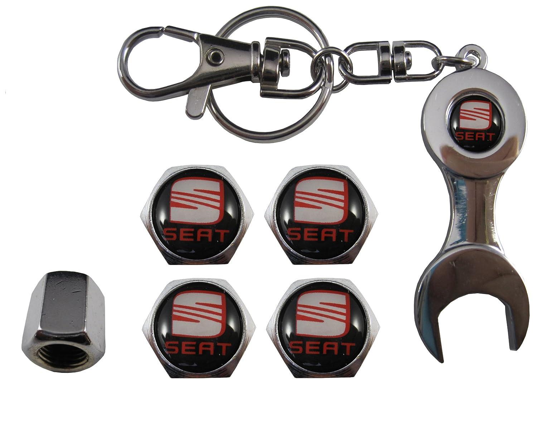 aut011-7 Bouchons de valve en acier inoxydable pour voiture et porteclé de serrage Seat ETMA