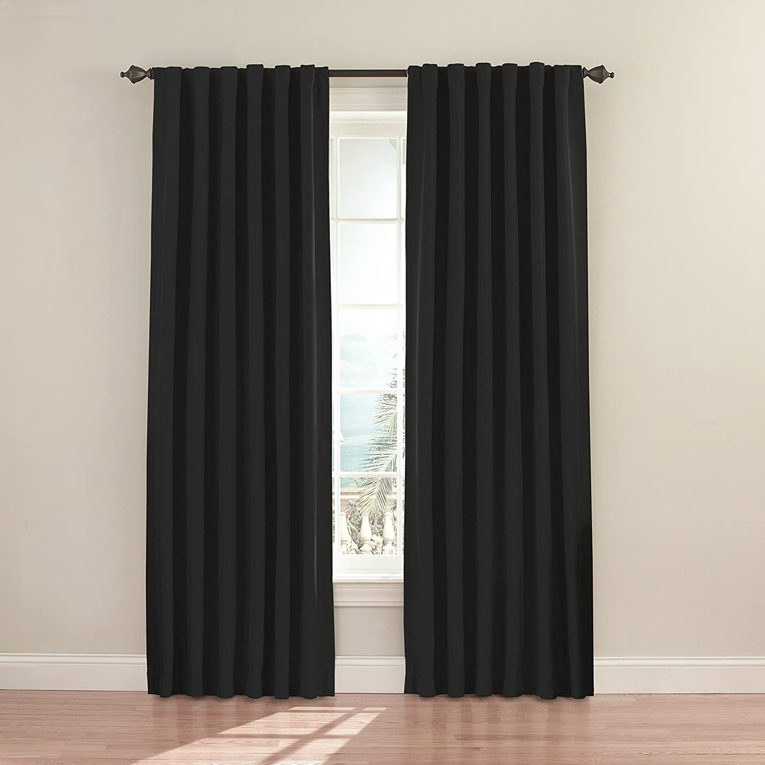 Amazon.com: Eclipse 11353052X084BK Fresno 52-Inch by 84-Inch Blackout  Single Window Curtain Panel, Black: Home & Kitchen