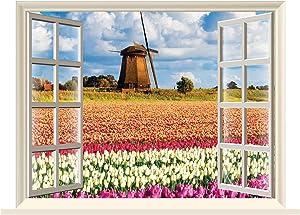 "Fabulous Décor - Tulip Flower Field Colorful Amsterdam 3D Window Wall Art View Premium Vinyl Decal Sticker 17""H X 23.8""W"