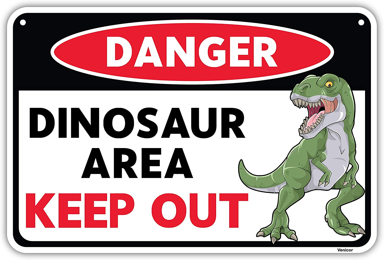 Venicor Dinosaur Sign - 8 x 12 Inches - Aluminum - Dinosaur Room Decor for Boys - Dinosaur Decor Boys Room - T Rex Dinosaur Bedroom Decor for Boys Kids Wall Decor Bathroom Door Train Art Poster Stuff