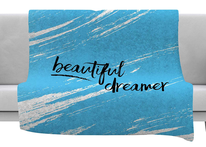 Kess InHouse NL Designs Beautiful Dreamer Blue Typography Throw 80 x 60 Fleece Blanket