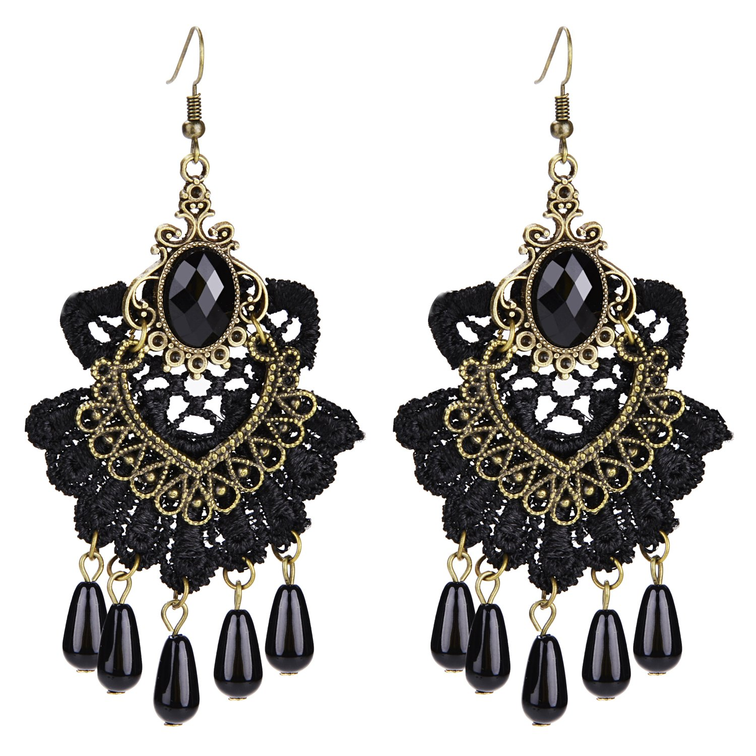 Aniwon Punk Style Wedding Party Black Lace Choker Beads Tassels Chain Pendant Necklace Earring Set for Women… by Aniwon (Image #5)