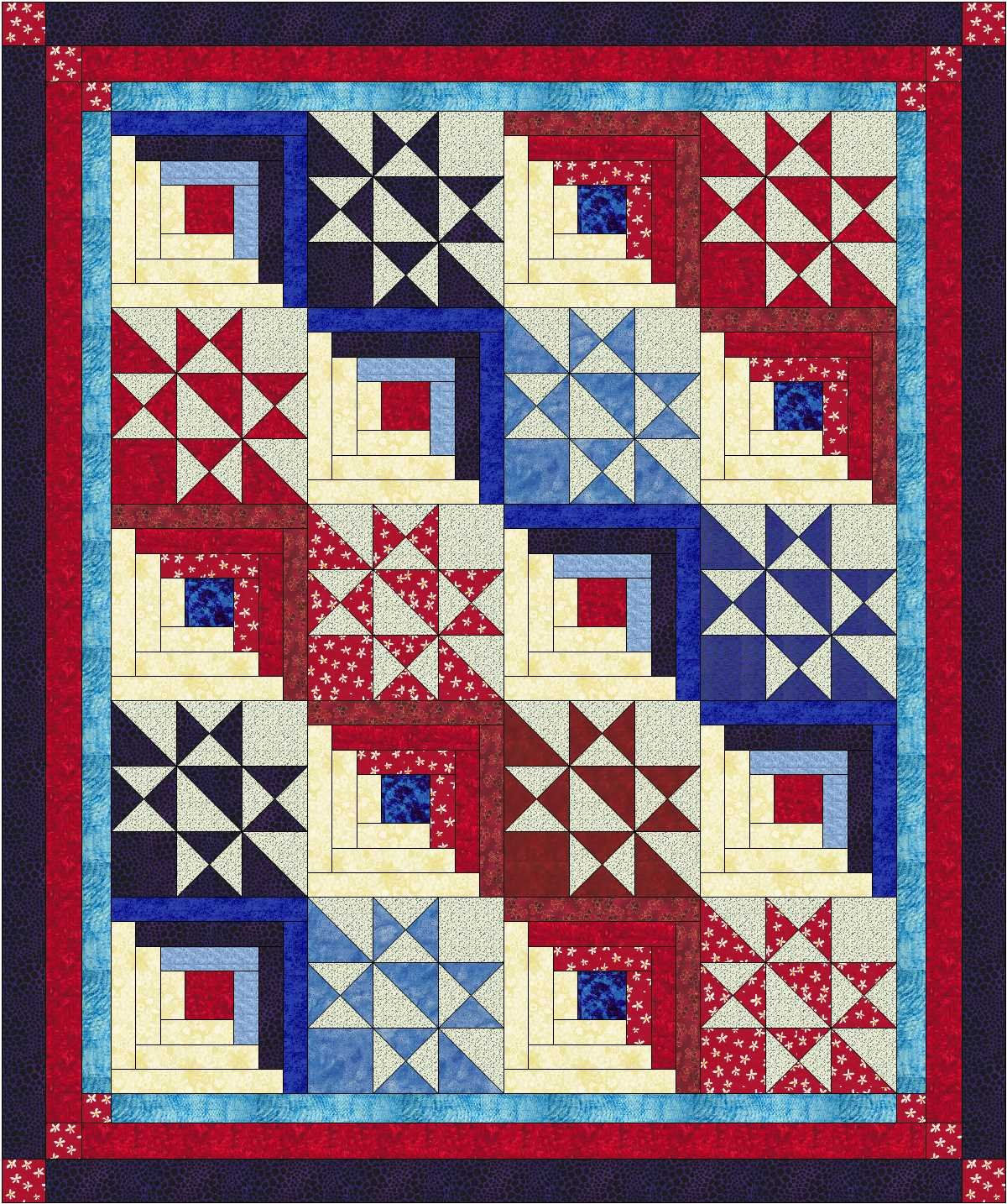 Easy Quilt Kit Singing the Red White and Blue by Material Maven