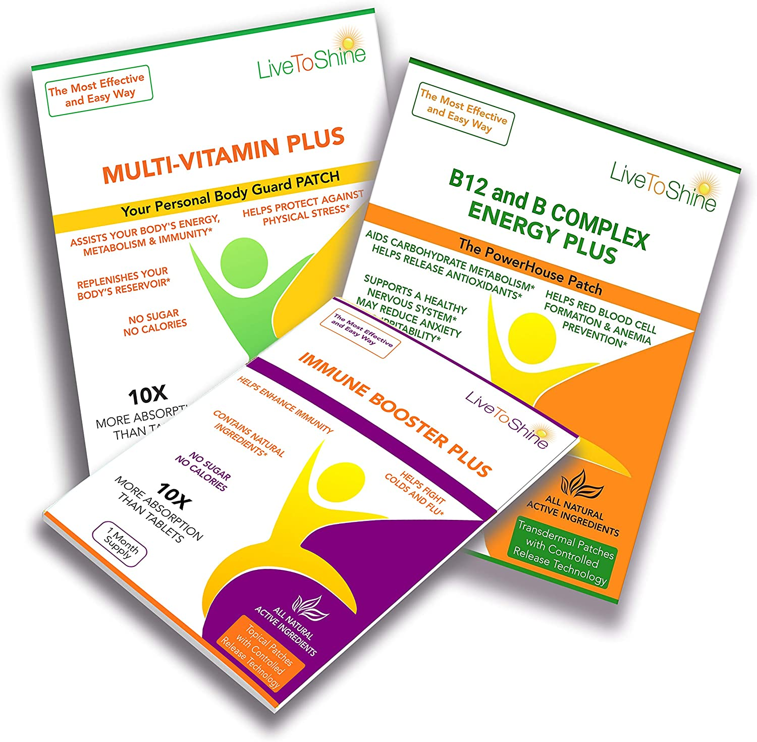 Over 50's Vitamins for Men Bundle - Multi Plus Body Guard Patches to Support Your Overall Health - B12 and B Complex Powerhouse Patch to Give You Energy - Immune Booster Plus Patch to Keep You Safe