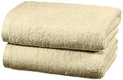AmazonBasics - Juego de 2 toallas de secado rápido, 2 toallas de mano - Beige