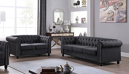 U.S. Livings Lilyana Modern Living Room Sofa Set (Loveseat And Sofa,  Charcoal)