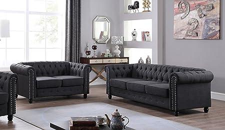 U.S. Livings Lilyana Modern Living Room Sofa Set Loveseat and Sofa, Charcoal