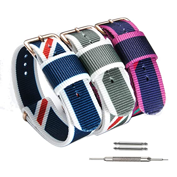 d1c4e7b5c ViuiDueTure 14mm 18mm 20mm Watch Band NATO Strap Canvas Fabric Nylon  Replacement Watch Straps for Men