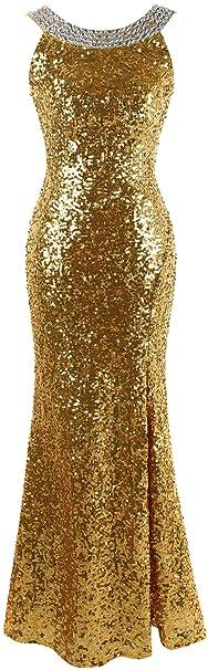 Angel-fashions Damen Rundhalsausschnitt mit Perlen verziert blinging Pailletten Split Abendkleid