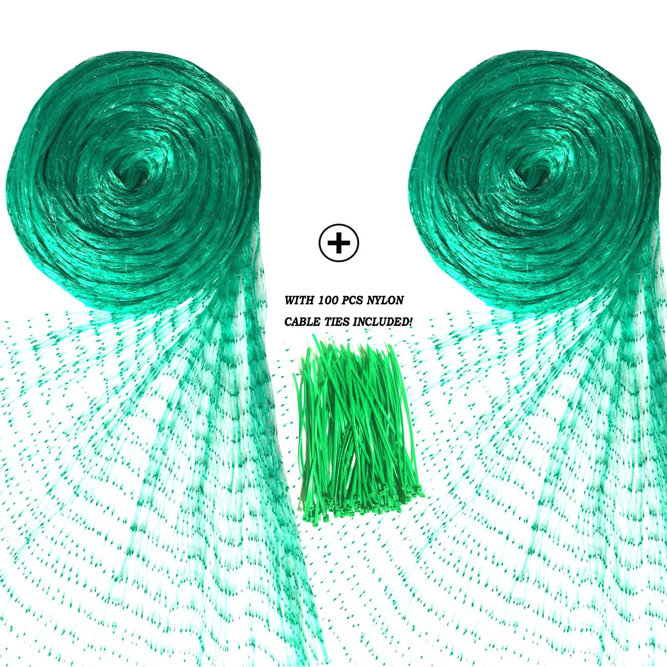 Senneny 2 Pack Bird Netting, 20Ft x 6.5Ft Anti-Bird Netting 100 Pcs Nylon Cable Ties, Green Garden Netting Protecting Plants Fruit Trees from Rodents Birds Deer