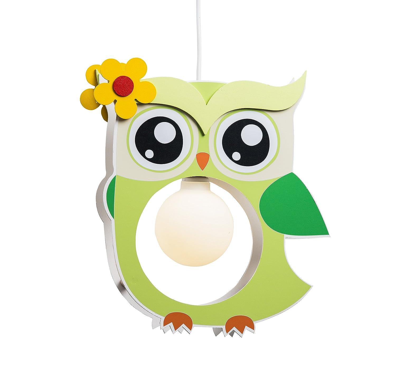 Elobra Lampada da soffitto per bambini, motivo: gufo, in legno, colore: verde chiaro, A++ 132203