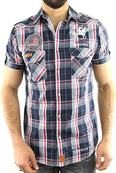 ZANAL_Men_SS-Nav - Hombre Camisa Escocesa - geográfica Noruega - Zanal - Corto Mangas - Moda - Marina - Azul, XXL: Amazon.es: Ropa y accesorios