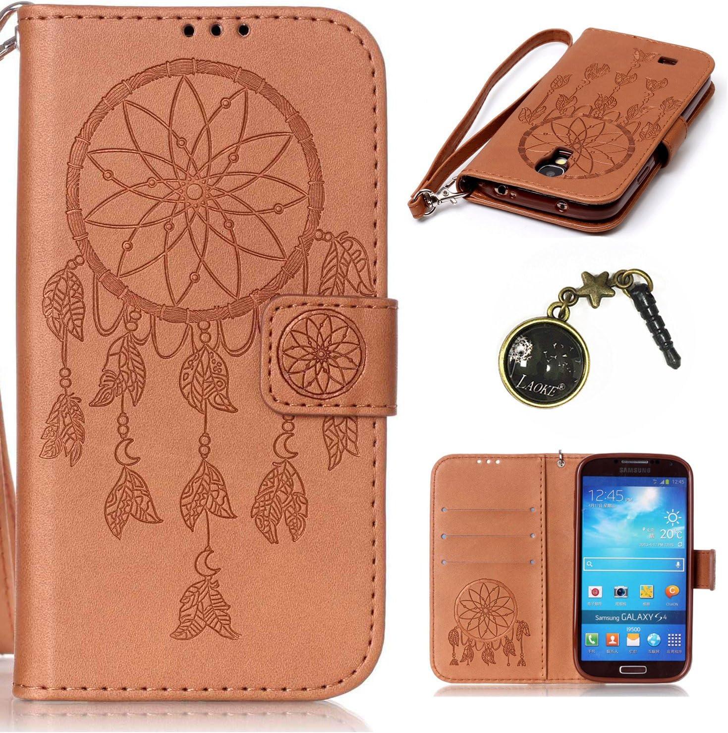 PU Galaxy S4 i9500 (5 pulgadas) funda Flip cover de piel para Samsung Galaxy S4 i9500 (5 pulgadas) Flip Cover Funda Libro Con Tarjetero Función Atril magnético + Polvo Conector azul 12: Amazon.es: Electrónica