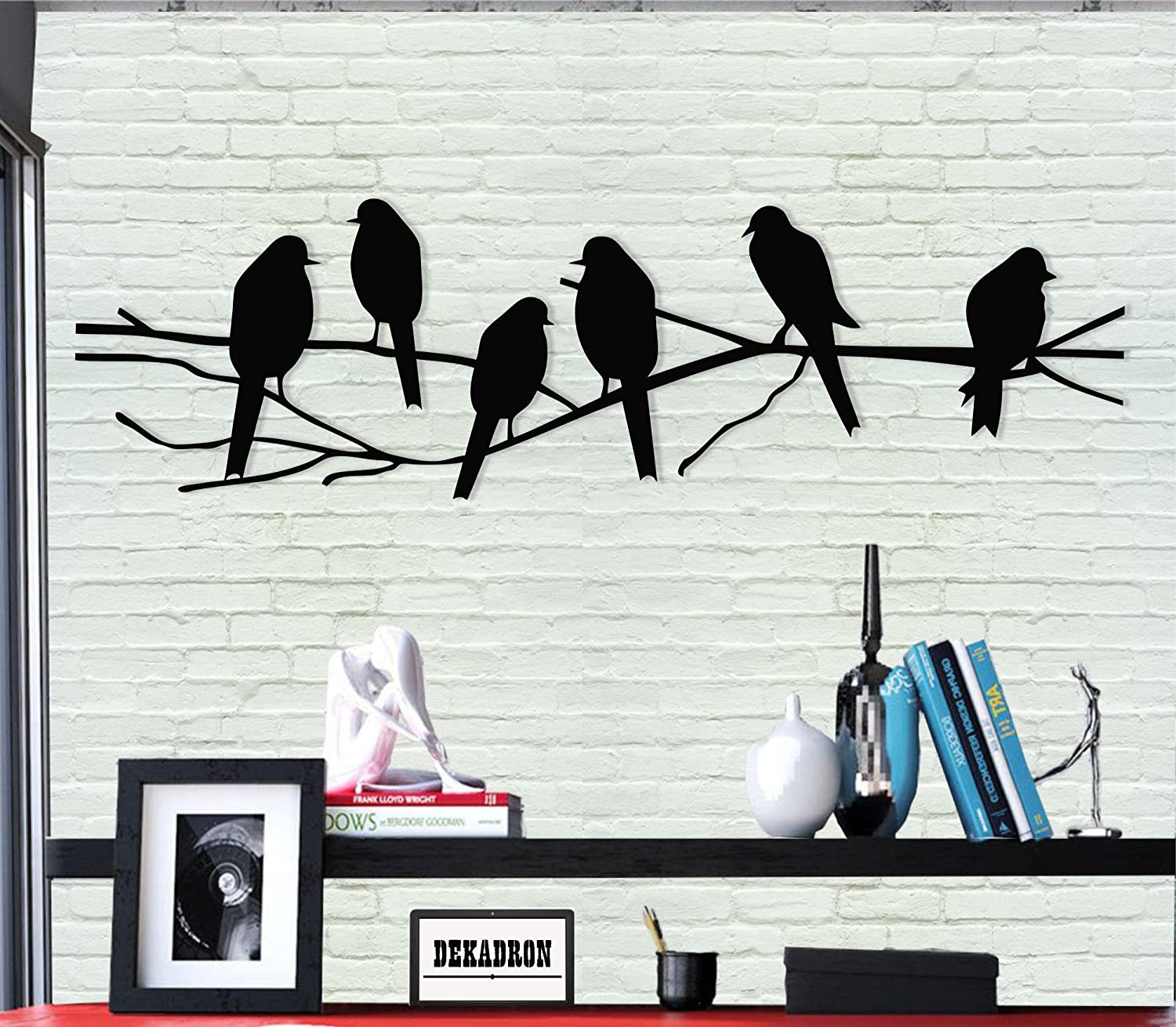 Amazon Com Metal Wall Art Birds Wall Silhouette Metal Wall Decor Home Office Decoration Bedroom Living Room Decoration 24 W X 8 H 61x20cm Everything Else