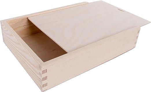 Caja de madera con tapa deslizante (tamaño L28 x W21 x h6 cm ...