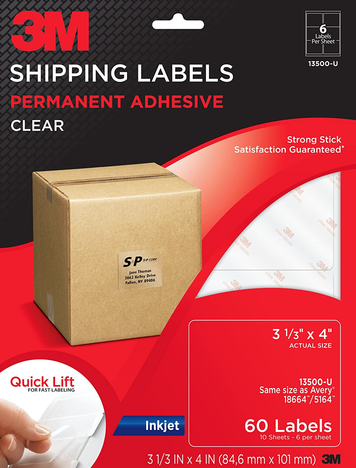 Amazon.com : 3M Shipping Labels for Inkjet Printers, Clear, 3 1/3 x ...