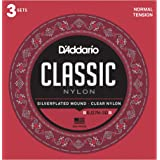 D'Addario EJ27N Student Nylon Classical Guitar Strings, Normal Tension, 3 Sets