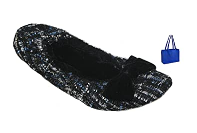 dearfoams Womens' Sequined Tweed Ballerina Slippers and Gift Bag (Small,  Black)