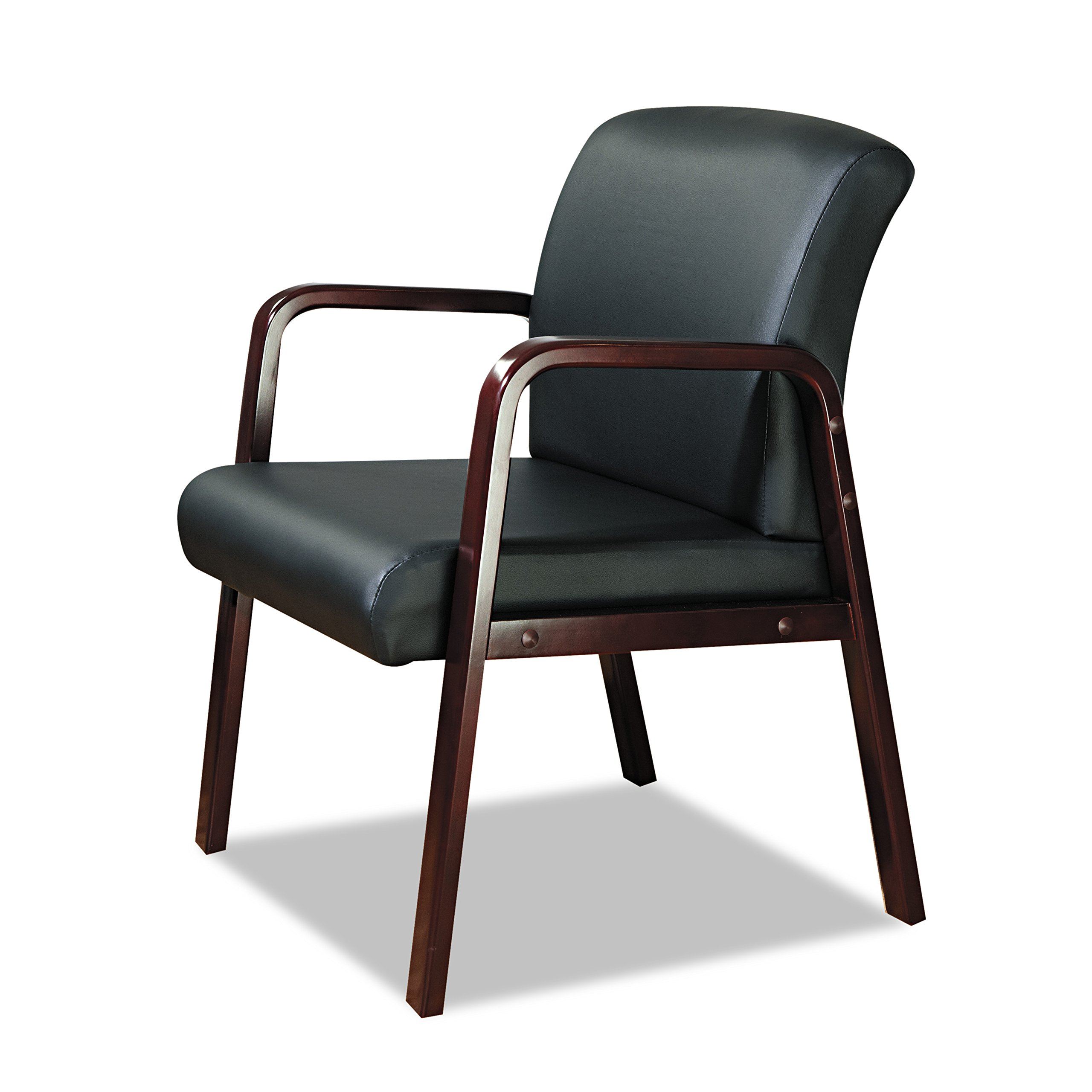 Alera ALERL4319M Reception Lounge Series Guest Chair, Mahogany/Black Leather by Alera (Image #12)