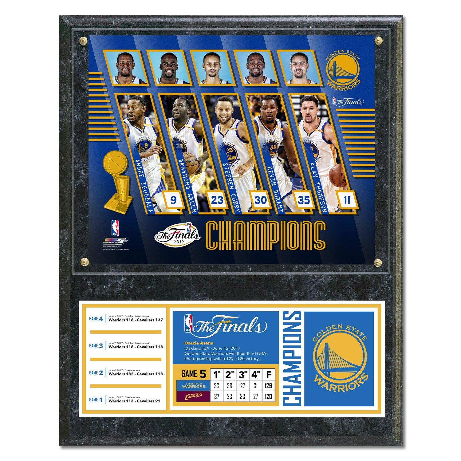 NBA Golden State Warriors 2017 Champions Composite Plaque with Metal Plate 12 x 15 Multicolor