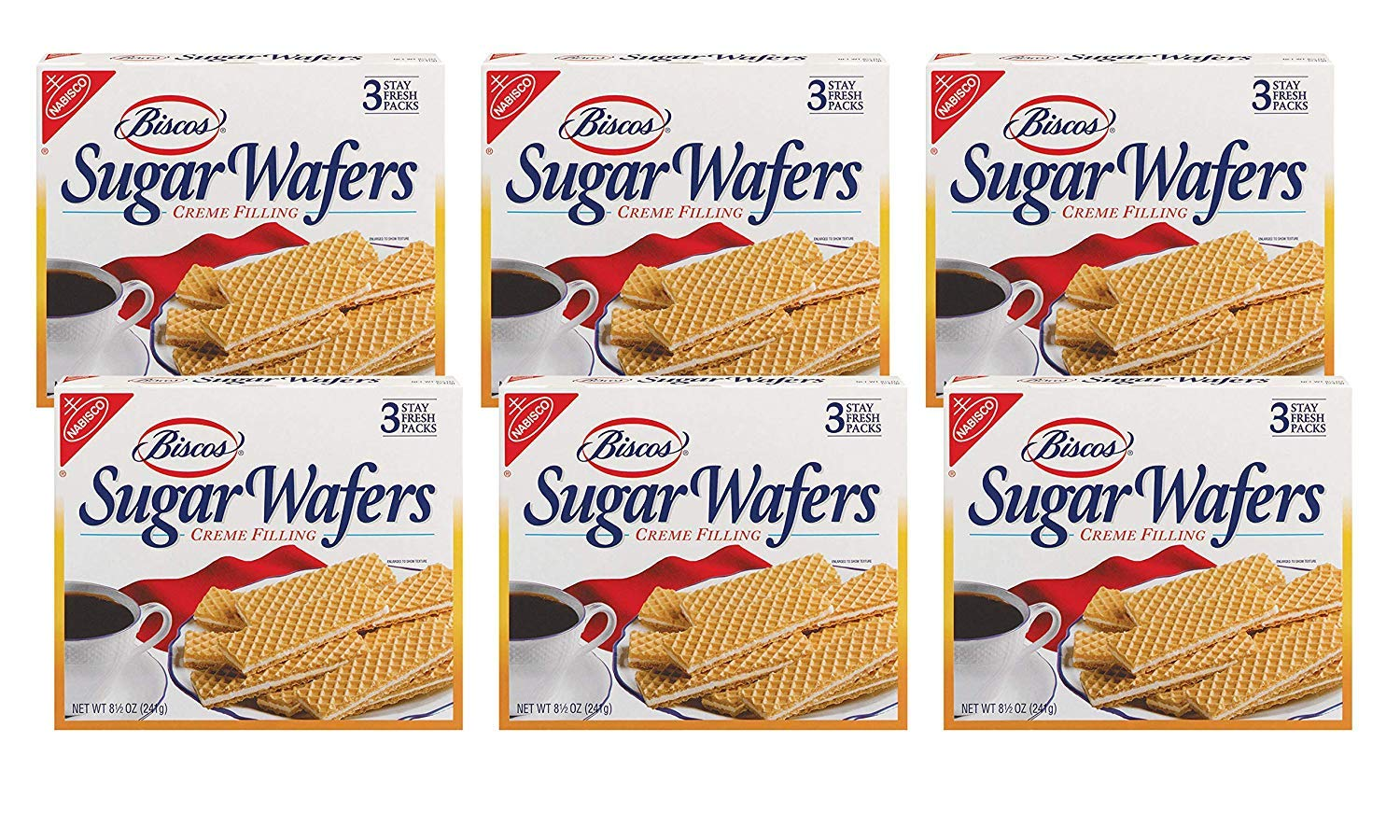 Biscos Sugar Wafers with Creme Filling, 8.5 Ounce (Pack of 6) (12 Pack) by Biscos