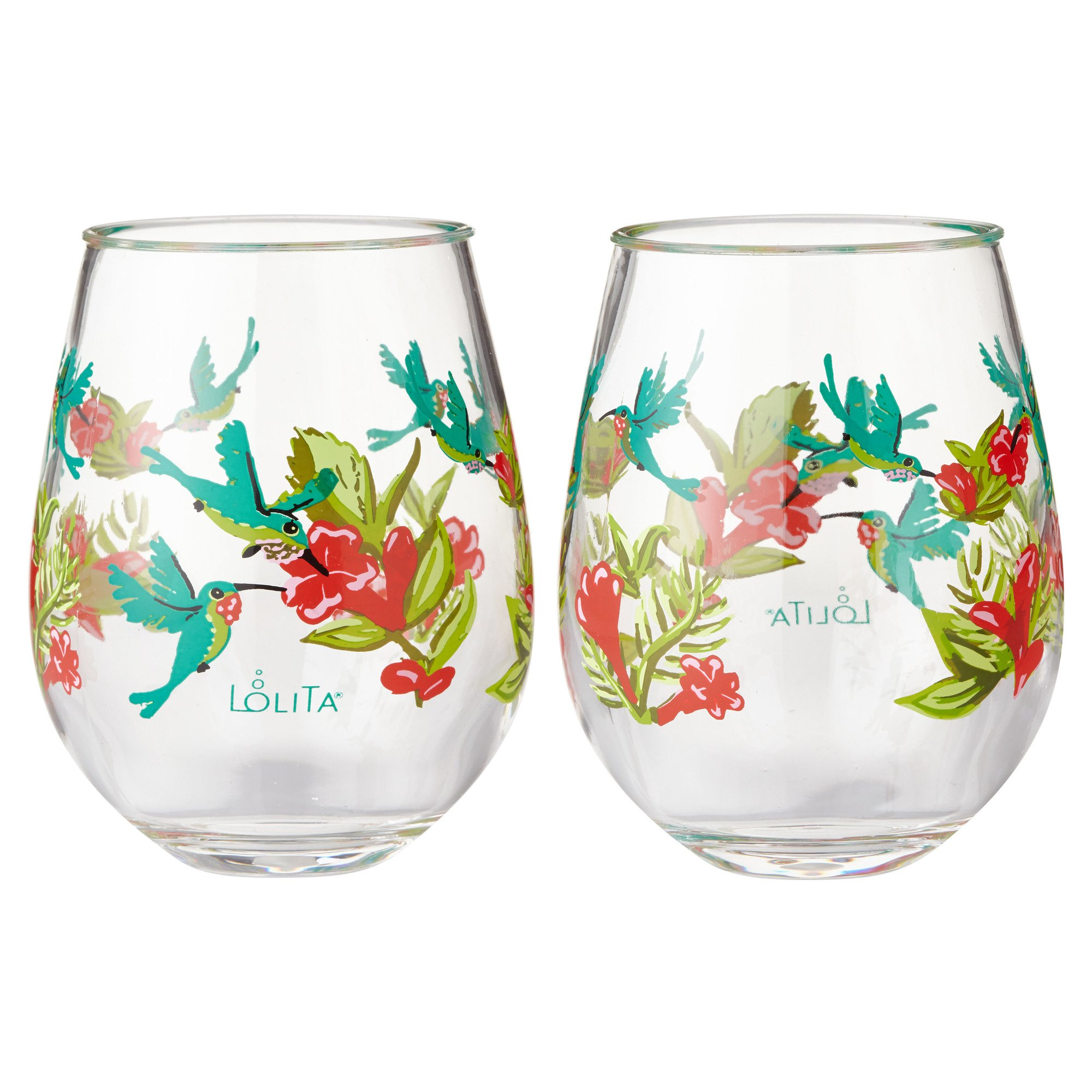 Enesco Designs by Lolita Hummingbird Acrylic Stemless Wine Glasses, Set of 2, 17 oz.