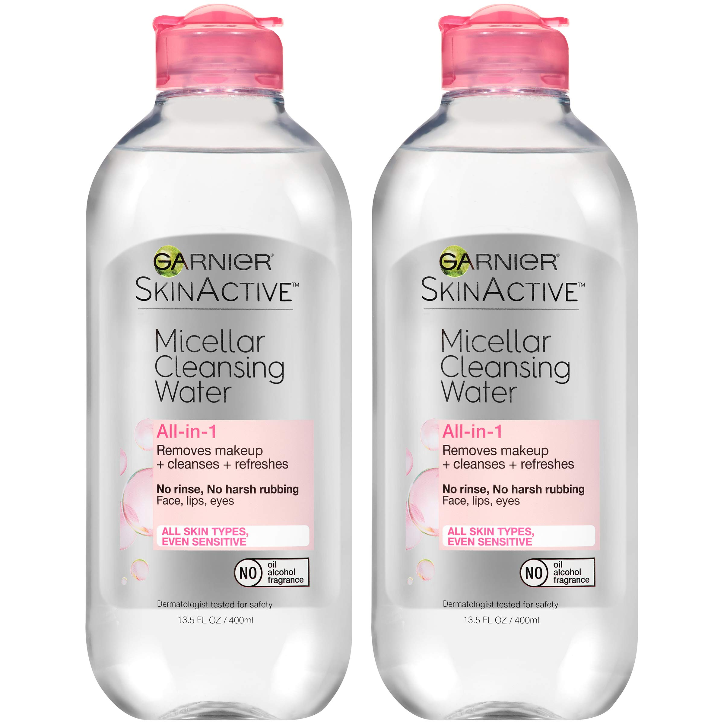 Garnier SkinActive Micellar Cleansing Water, All-in-1 Makeup Remover and Facial Cleanser, For All Skin Types, 13.5 fl oz, 2 Pack by Garnier