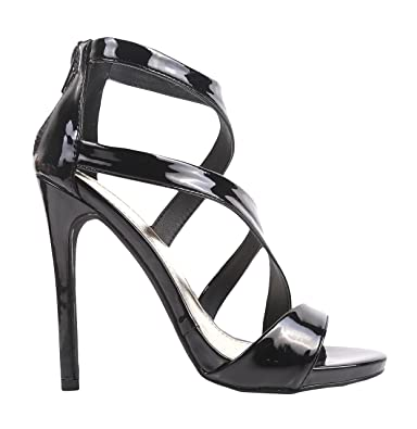 Liliana Fashion Sexy Faux Leather Glitter Patent Strappy Sandals Women  Fancy Stiletto High Heels Dress Shoes