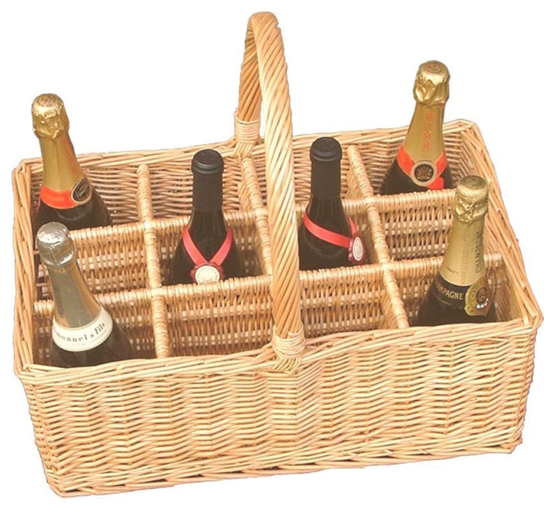 Red Hamper WB010/HOME 12 Bottle Wicker Drinks Basket, Brown, 36 x 47 x 22 cm