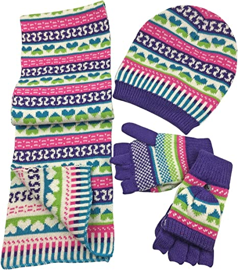 NIce Caps Little Girls and Infants Geo Print Sherpa Lined 3 Pc Knit Set