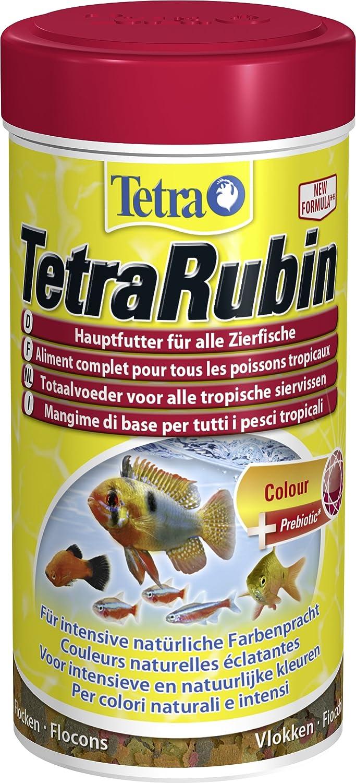 TetraRubin Hauptfutter (für Zierfische, für intensive Farbenpracht mit natürlichen Farbverstärkern, plus Präbiotika für verbesserte Körperfunktionen und Futterverwertung), verschiedene Größen 100 ml Dose 727564