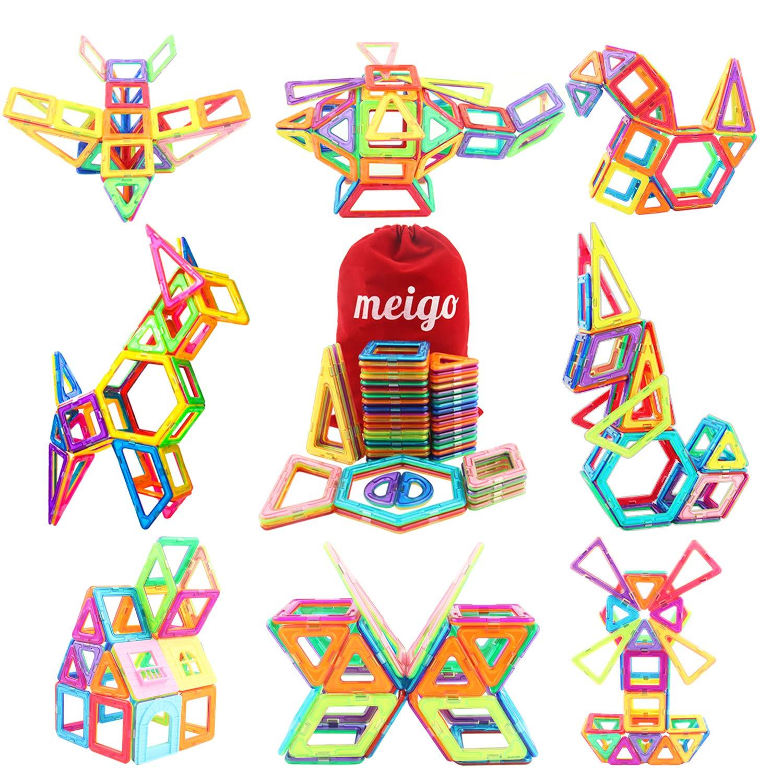 MEIGO Magnetic Blocks - Toddlers STEM Construction Building Tiles Educational Preschool Learning Gift for Kids 3 4 5 Year Old Boys Girls (51pcs)