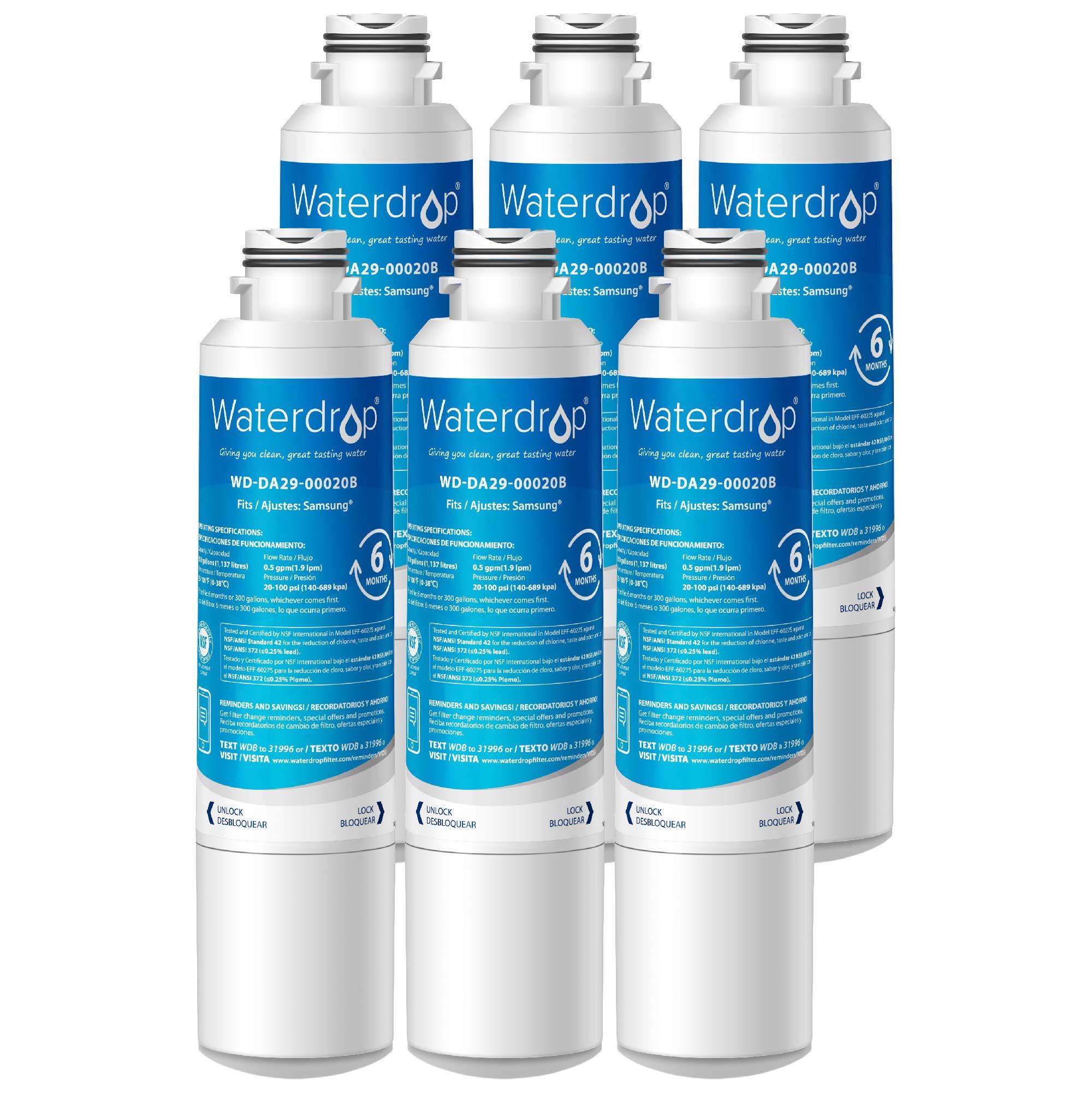 Waterdrop DA29-00020B Refrigerator Water Filter, Compatible with Samsung DA29-00020B, DA29-00020A, HAF-CIN/EXP, 46-9101, Standard, Pack of 6 by Waterdrop