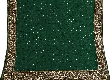 59d72e4f56c3 Vintage Vintage vert Dupatta main perlee echarpe indienne Georgette tissu  voile etole